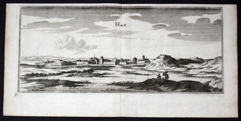 1650 - Han-sur-Meuse Lorraine gravure estampe Kupferstich Merian engraving