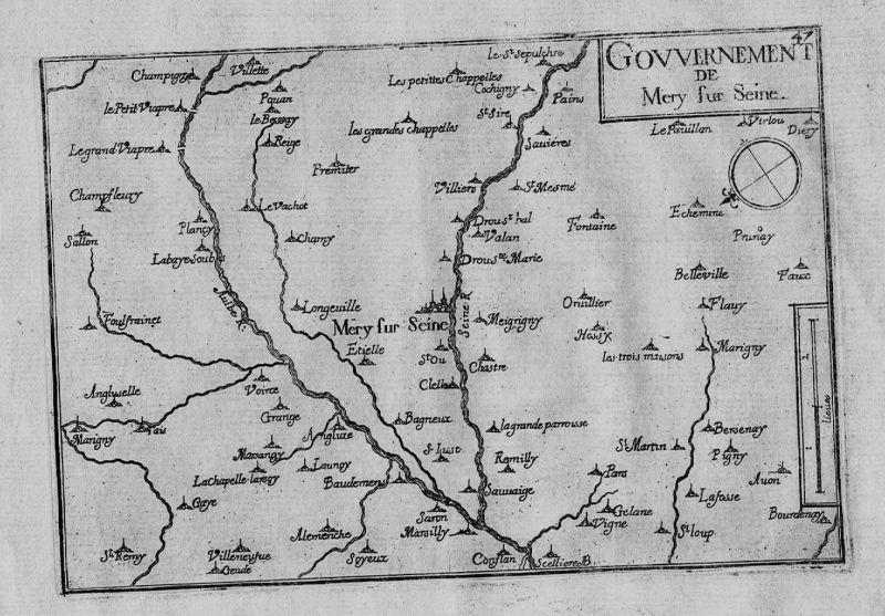 1640 - Mery-sur-Seine Aube Champagne-Ardenne carte gravure Kupferstich Tassin