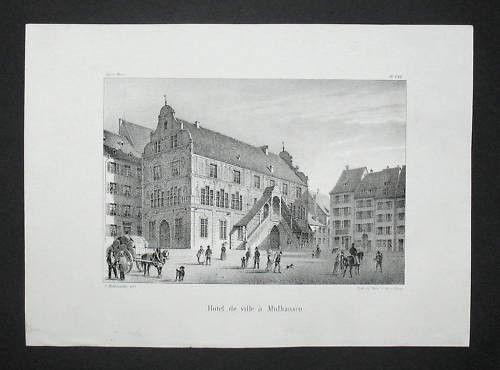 1839 - Mühlhausen Mulhouse Elsass Alsace Lithographie