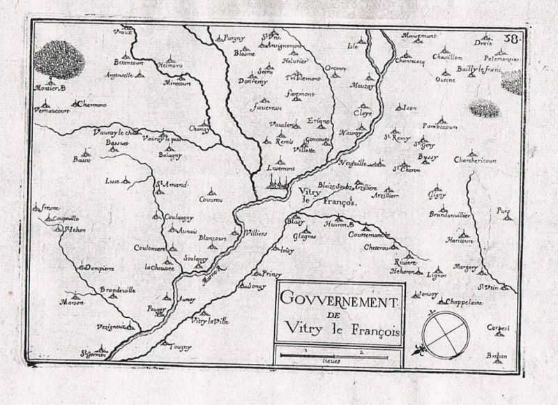 1660 - Vitry-le-Francois Marne Champagne-Ardenne gravure Kupferstich Tassin