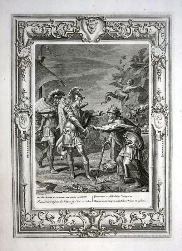 Ca 1730 Phineus Harpy Boreads Greek Mythologie mythology Kupferstich engraving