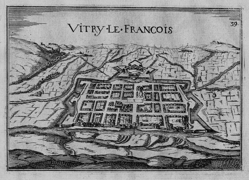 1640 - Vitry-le-Francois Marne Champagne- Ardenne gravure Kupferstich Tassin
