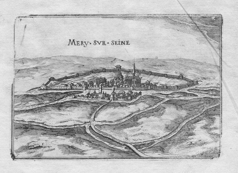 1640 - Mery-sur-Seine Champagne-Ardenne Aube France gravure Kupferstich Tassin