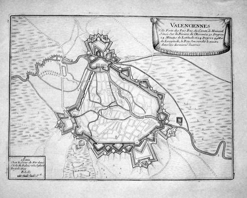 1700 - Valenciennes Nord-Pas-de-Calais Gravure Kupferstich engraving map carte