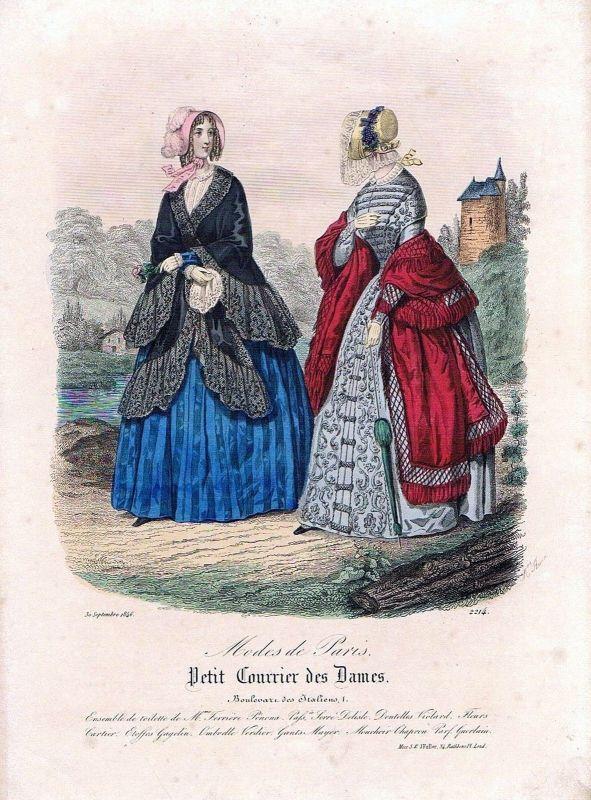 1846 Biedermeier Mode Kupferstich victorian fashion antique print etching  89741