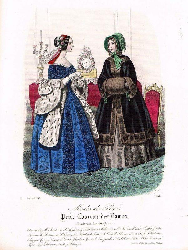 1846 Biedermeier Mode Kupferstich victorian fashion antique print etching  89739