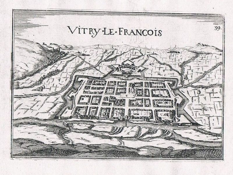 1660 - Vitry-le-Francois Marne Champagne-Ardenne view gravure Kupferstich Tassin