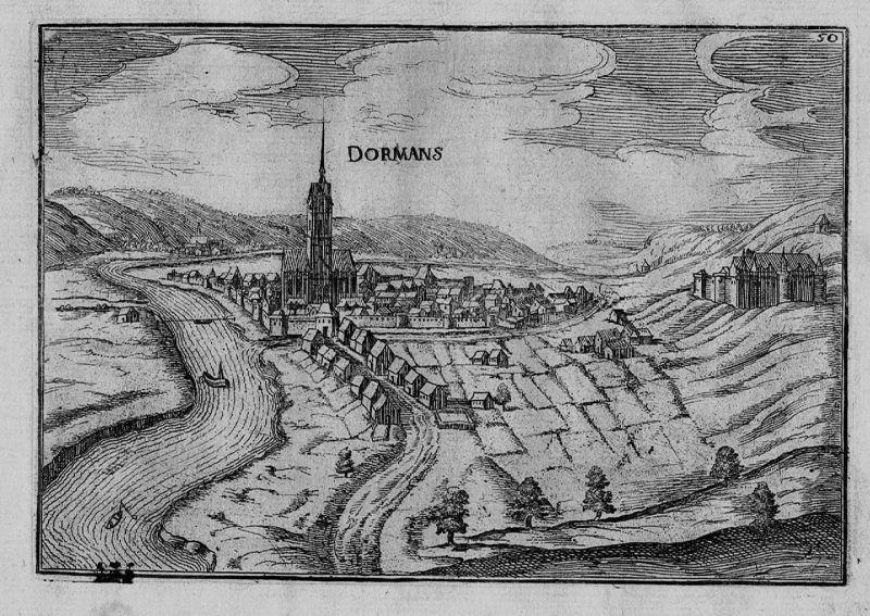 1640 - Dormans Marne Champagne-Ardenne Ansicht carte gravure Kupferstich Tassin