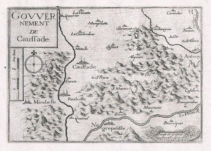 1660 - Caussade Tarn-et-Garonne carte gravure Original Kupferstich Tassin