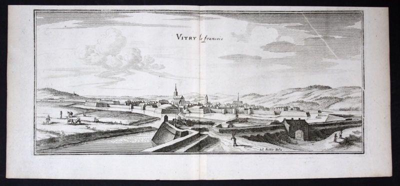 1650 - Vitry-le-Francois Marne gravure estampe Kupferstich Merian engraving
