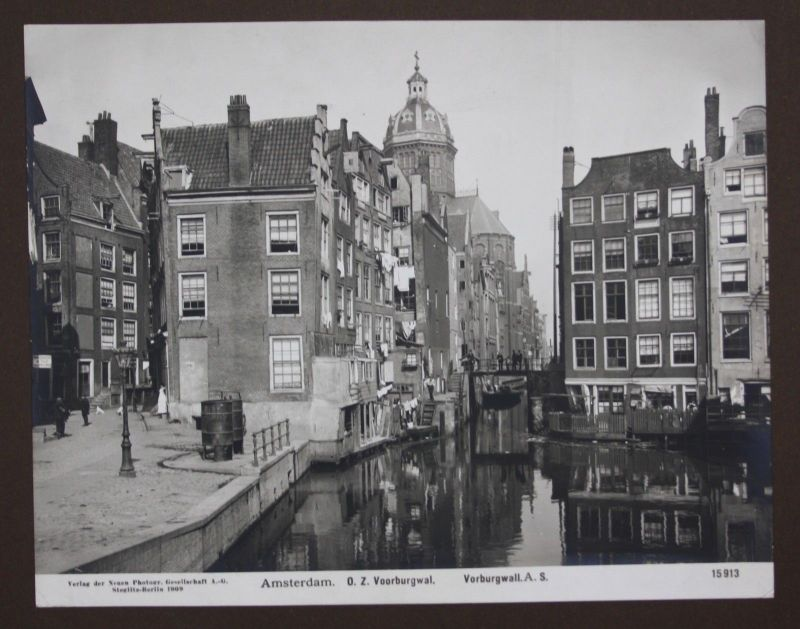 1909 - Amsterdam Voorburgwal Kanal Canal Foto photo Fotografie photography