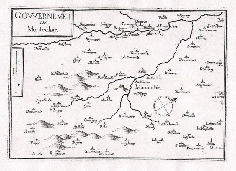 1660 - Monteclair Champagne-Ardenne France gravure Original Kupferstich Tassin