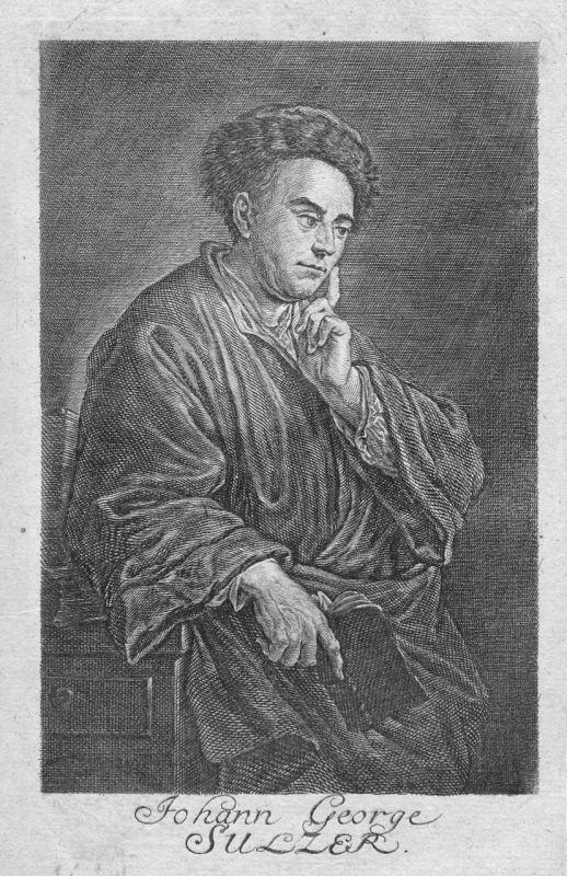 18. Jh. Johann Georg Sulzer Theologe Berlin Portrait Kupferstich antique print