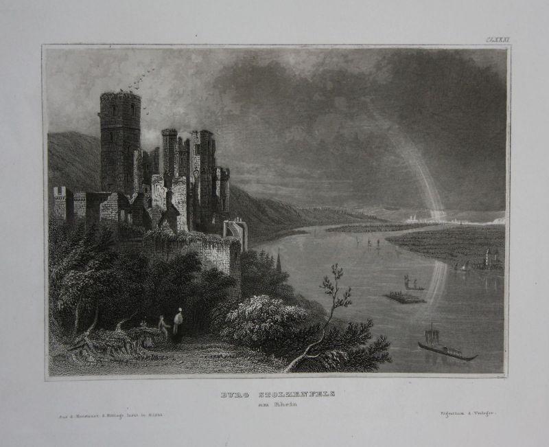Schloss Stolzenfels Koblenz Ansicht view Stahlstich antique print ca. 1840