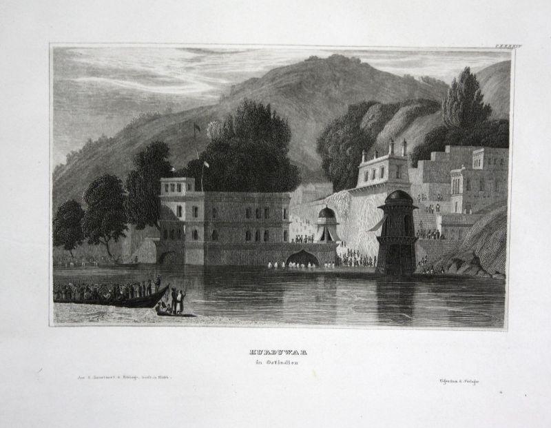 Haridwar Hurduwar East India Indien Ansicht Stahlstich view antique print 1840