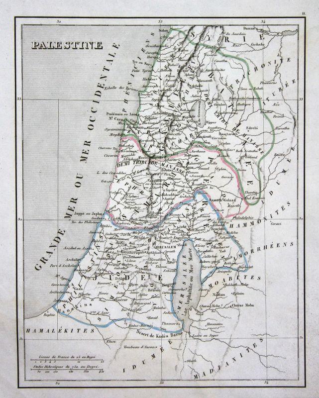 Ca. 1830 Palästina Jerusalem Israel Asien Asia map Karte engraving antique print