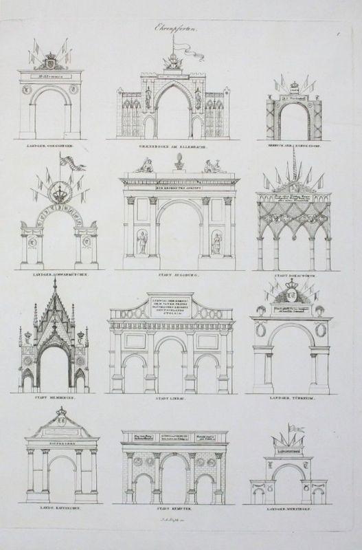 1829 - Ehrenpforten Donau Trachten Ecker Eckhoffen Oberdonaukreis Lithographie