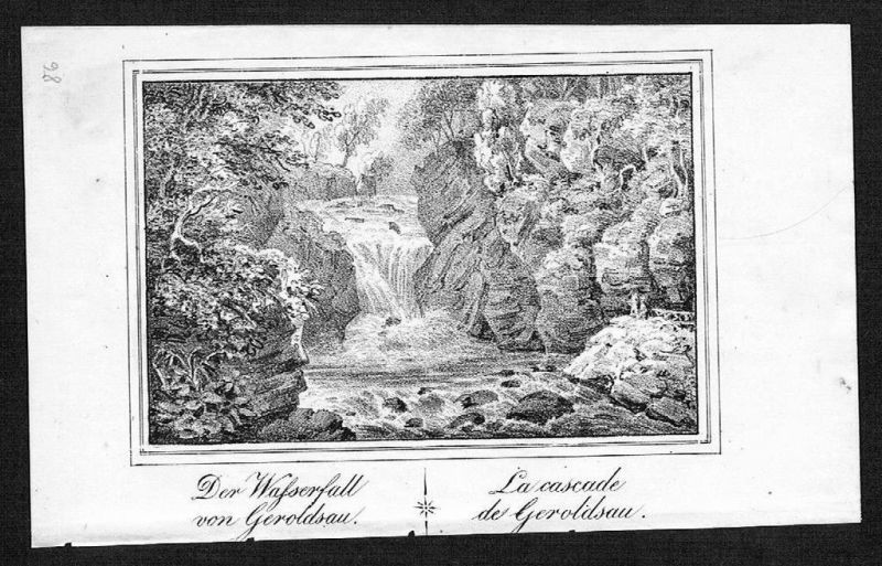1830 - Geroldsau Baden-Baden Wasserfall Lithographie lithograph litho