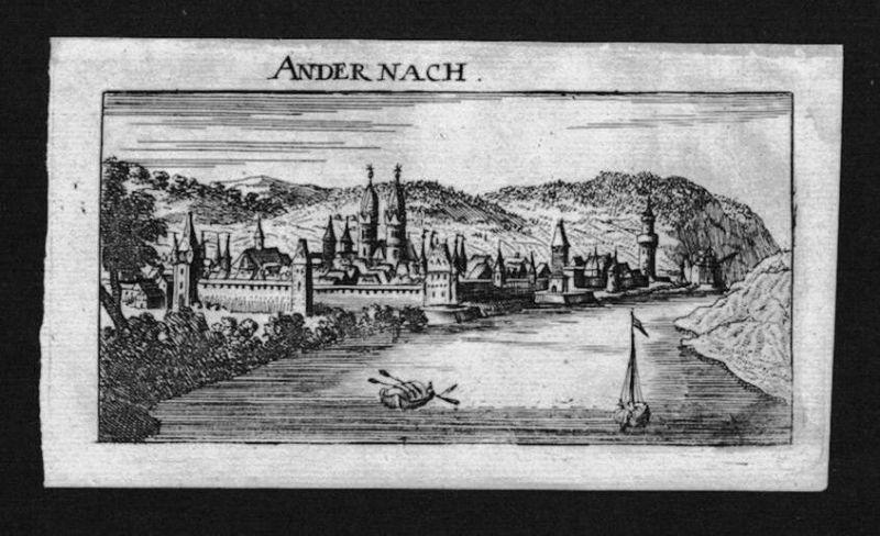 1690 - Andernach Gesamtansicht Kupferstich Riegel
