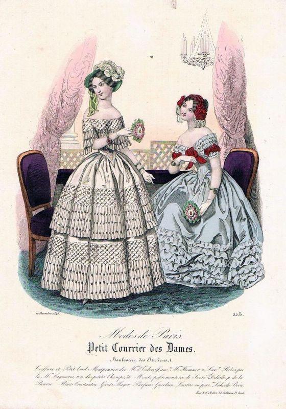 1846 Biedermeier Mode Kupferstich victorian fashion antique print etching  62270