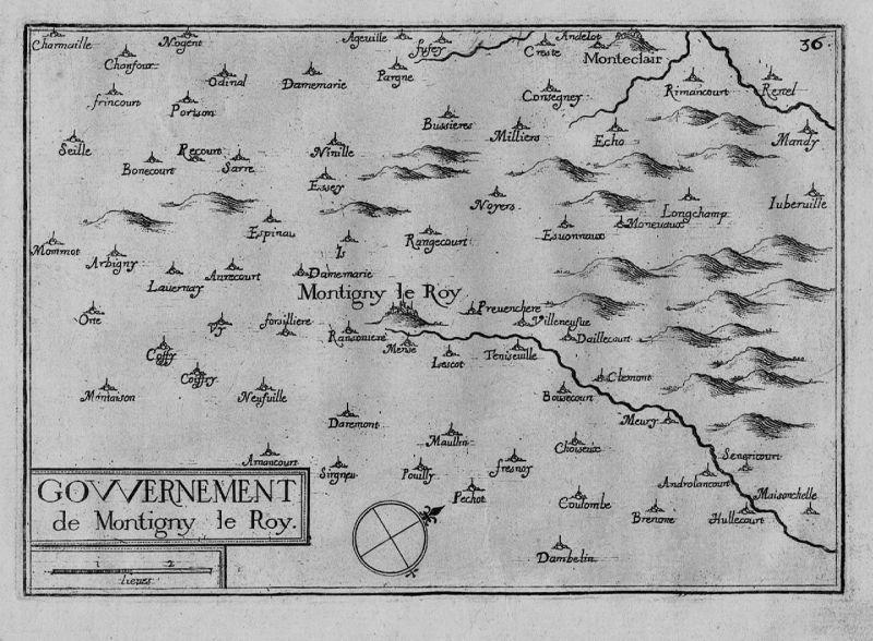 1640 - Montigny-le-Roi Val-de-Meuse Haute-Marne map gravure Kupferstich Tassin