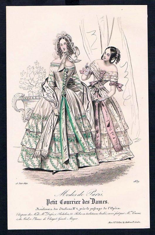 1842 Biedermeier Mode Kupferstich victorian fashion antique print etching  62261