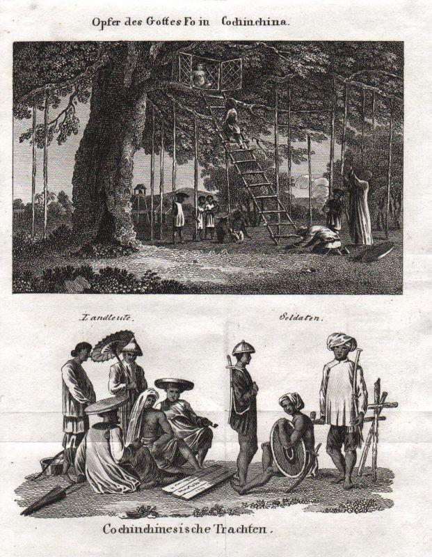 1800 - Vietnam Asia Asien costumes Trachten Kupferstich etching