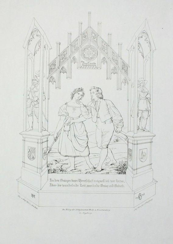 1829- Zusam Donau Donauwörth Trachten Ecker EckhoffenOberdonaukreis Lithographie
