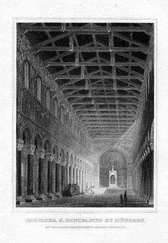 1850 - München Basilika Oberbayern Stahlstich