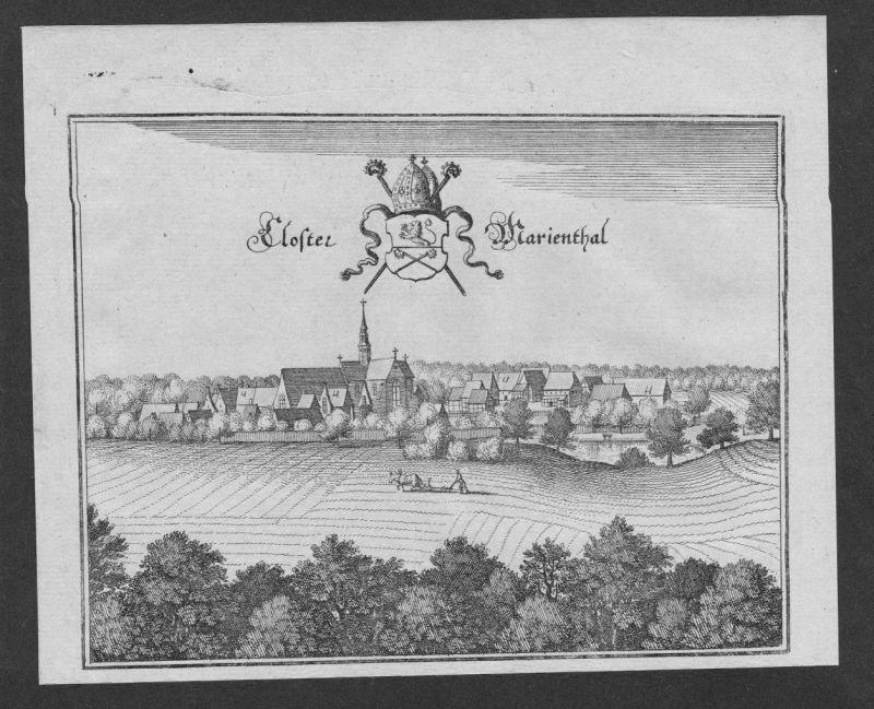 1650 - Mariental Lk Helmstedt Original Kupferstich Merian