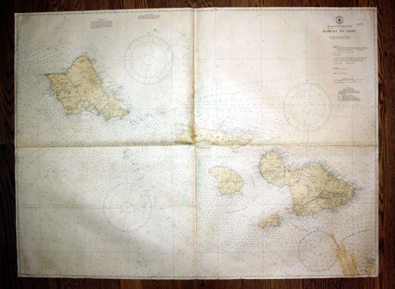 1940 Hawaiian Islands Hawaii Oahu Pazifik Pacific Ocean Ozean Karte map Insel