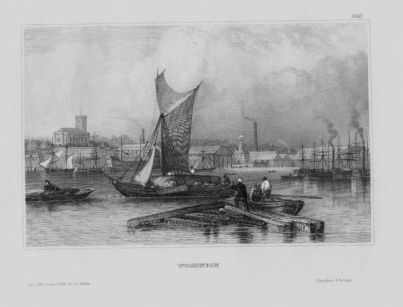1840 - Woolwich Docklands London Great Britain engraving Original Stahlstich