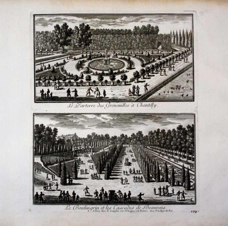 1670 - Chateau de Chantilly garden jardin Garten Perelle gravure engraving 64452