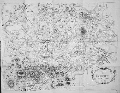 1785 Schlacht bei Hochkirch 1758 Kupferstich Karte Krieg map military Militaria