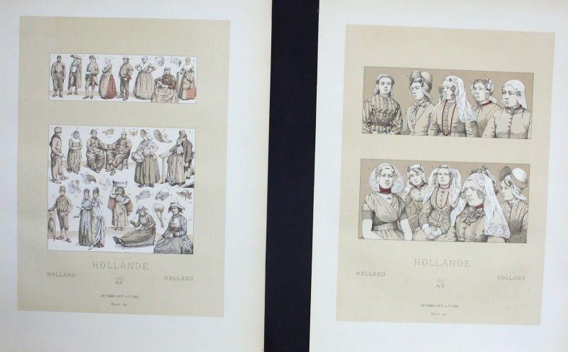 1880 - Hollande Holland XIX Jh. Trachten costumes Lithographie lithograph