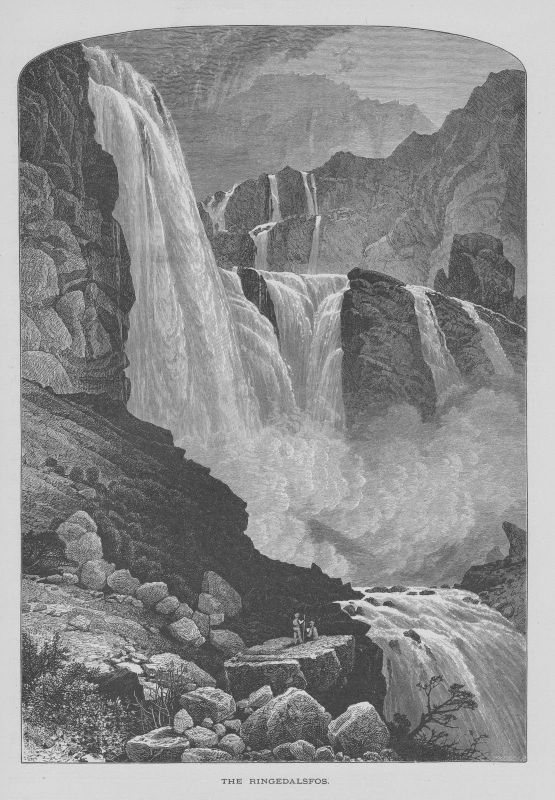 1880 - Ringedalsfos Wasserfall Norwegen Norway Norge Holzstich wood engraving