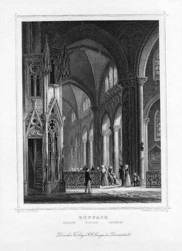 1850 - Rouffach Rufach Elsass France Stahlstich