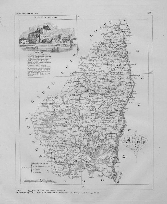 1830 - Departement Ardeche carte gravure Kupferstich Karte map France Frankreich