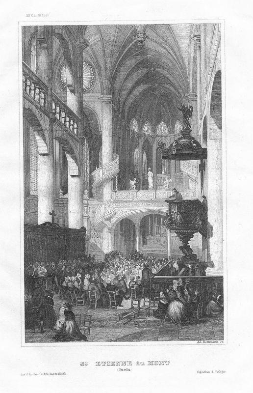 1850 - Saint-Etienne-du-Mont Saint-Geneviere Kirche Paris Original Stahlstich