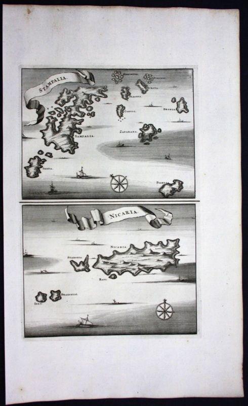 1688 - Astypalia Ikaria island Aegean Sea Greece engraving map Dapper
