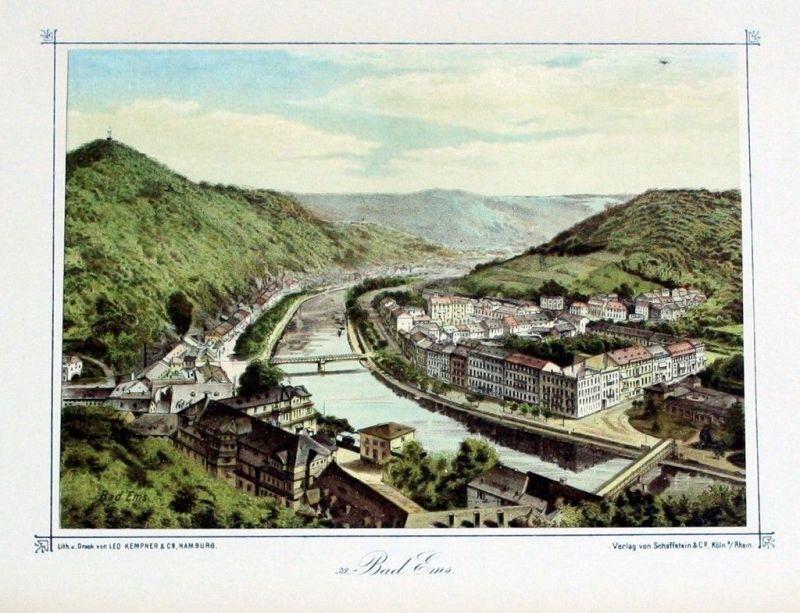 1880 - Bad Ems Original Lithographie lithograph