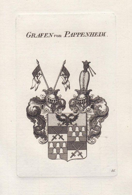 Grafen von Pappenheim - Pappenheim Schwaben Franken Wappen coat of arms Genealogie Kupferstich copper engravin
