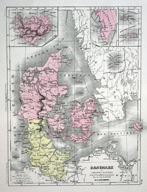 Danemark et Colonies Danoises - Dänemark Denmark Danmark Weltkarte Karte world map Lithographie lithograph Lit