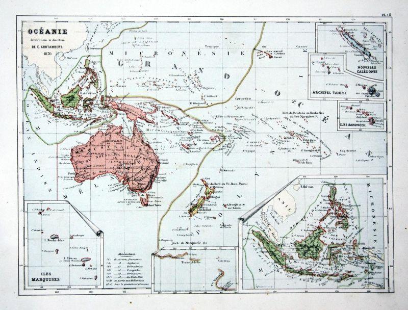 Oceanie - Ozeanien Oceania Australia Australien Neuseeland New Zealand Weltkarte Karte world map Lithographie