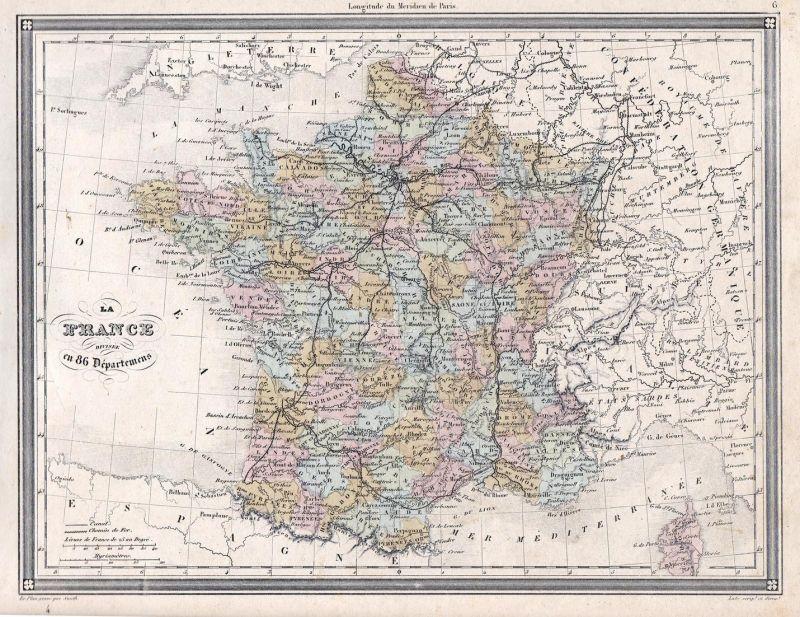 Lyon Karte.La France Divisee En 86 Departments France Frankreich Europa Europe Paris 86 Lyon Karte Map Vuillemin