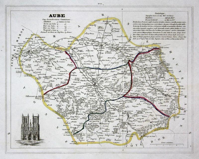 Frankreich Departements Karte.Aube Aube Frankreich France Département Grand Est Map Karte Engraving Antique Print