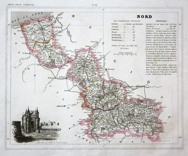 Nordfrankreich Karte.Nord Nord Frankreich France Département Hauts De France Map Karte Engraving Antique Print