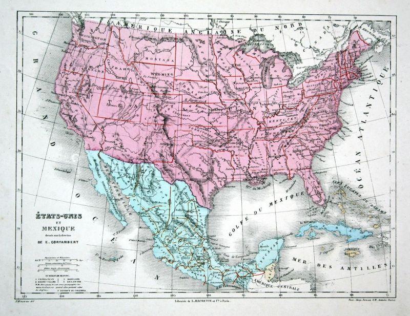 Mexiko Karte Welt.Etats Unis Et Mexique America Amerika Mexico Mexiko Weltkarte Karte World Map Lithographie Lithograph Litho