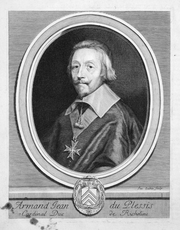Armand Jean du Plessis - Armand-Jean du Plessis Richelieu Kardinal cardinal Portrait Kupferstich engraving