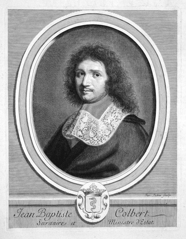 Jean Baptiste Colbert - Jean-Baptiste Colbert Staatsmann statesman homme d'État Portrait Kupferstich engraving